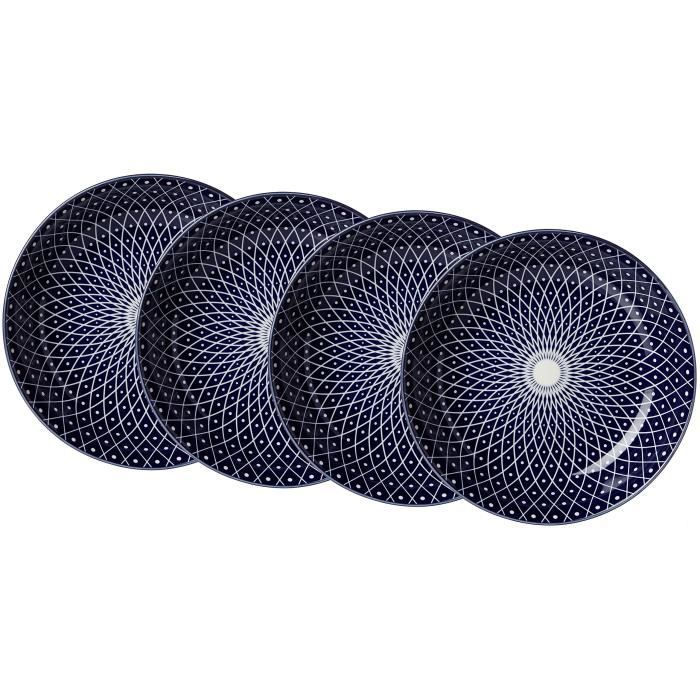 Ritzenhoff & Breker Assiettes creuses Reiko Kit Royal, 4 pièces, diamètre 20,5 cm, Porcelaine, Bleu-Blanc