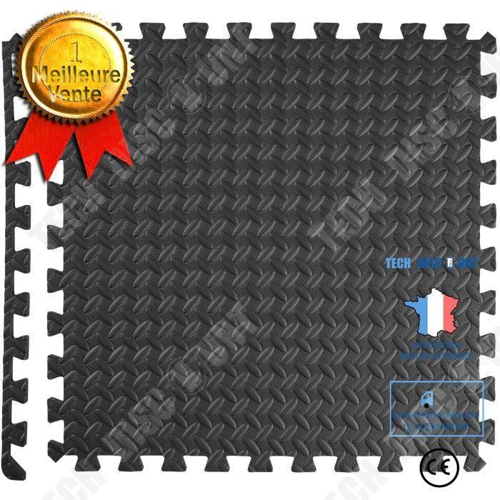 TD® Tapis de Sol de Gym Sport avec 12 Dalles de Protection en Mousse 61 cm x 61 cm Noir