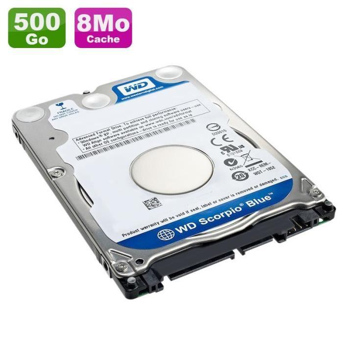 Disque Dur 500Go SATA 2.5- WD Scorpio Blue WD5000BPVT-22HXZT3 5400RPM Pc Portable 8Mo