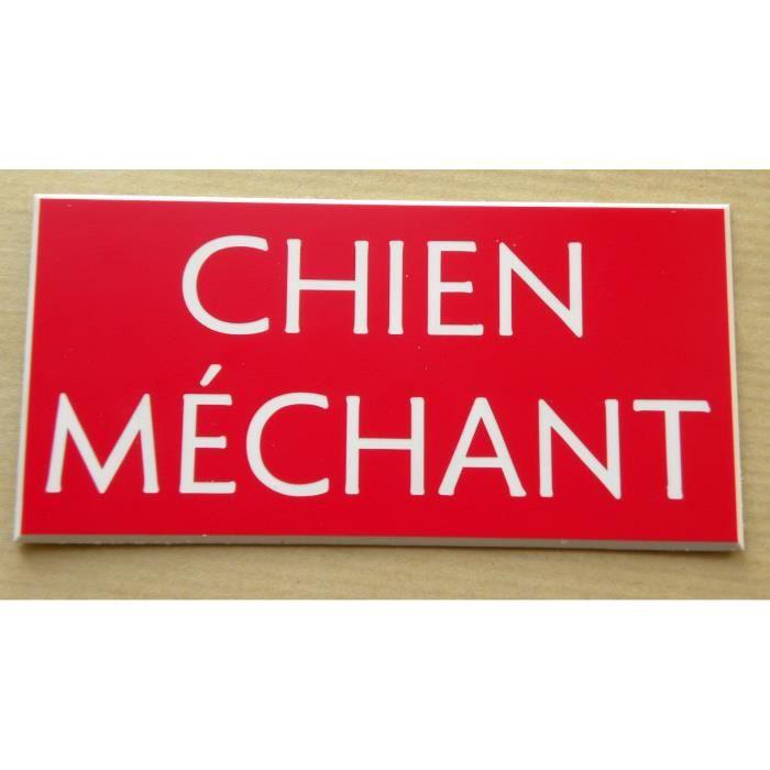 plaque gravée CHIEN MÉCHANT format 48 X 100 MM