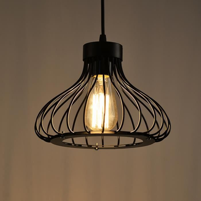 Suspension noir cage industriel metal retro style plafonnier luminaire cage c - Suspension luminaire style industriel ...