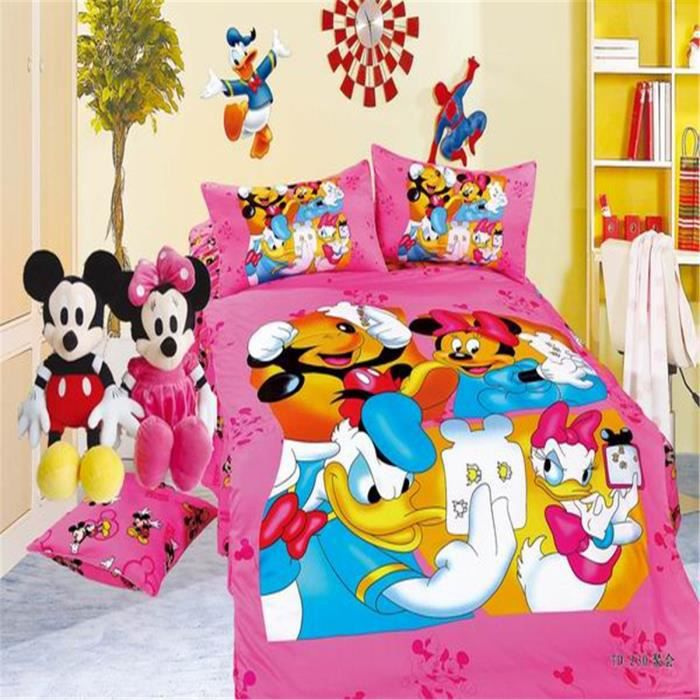 lm parure de lit enfant mickey mouse 100 coton achat vente parure de couette black. Black Bedroom Furniture Sets. Home Design Ideas