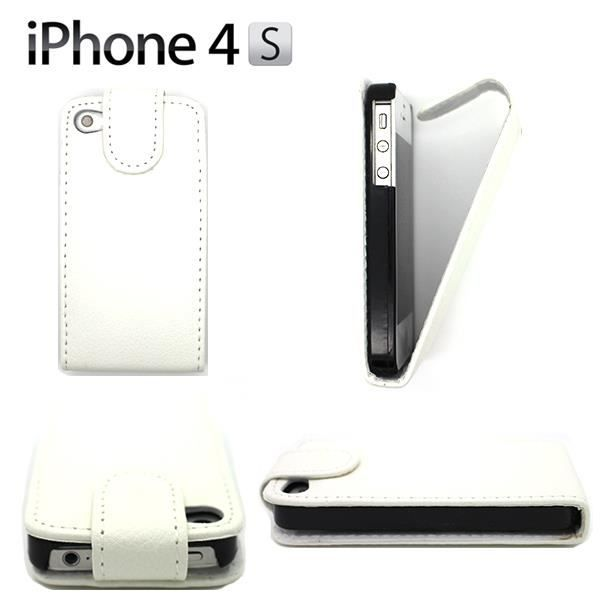 Coque housse cuir pu clapet iphone 4 4s blanc achat for Housse cuir iphone 4