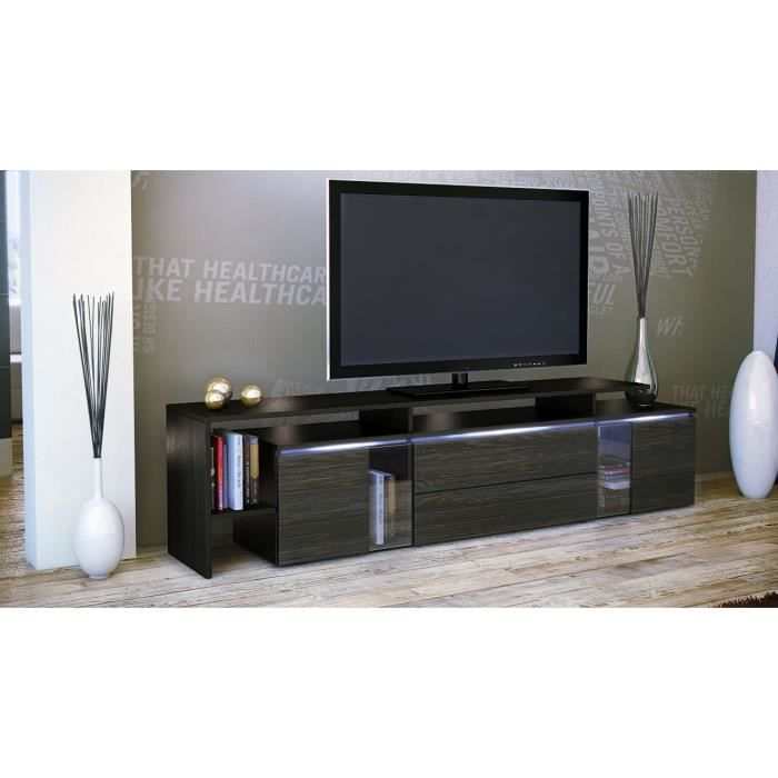 Meuble tv blanc weng 187 x 47 x 35 cm achat vente for Meuble tv wenge
