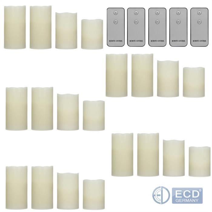15cm ECD Germany Ensemble de 20 Bougies avec Vraie Cire et Flamme Vacillante avec T/él/écommande 5X 7,5 12,5cm 10x 7,5 10cm 5X 7,5