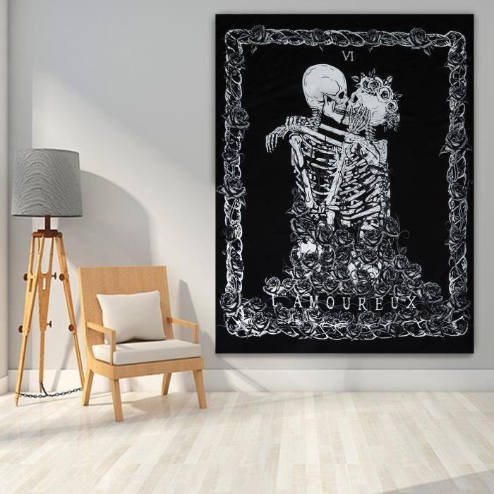 Hippie Crâne Dinosaure Tapestry Wall Hanging Trippy Squelette tapisserie décoration maison