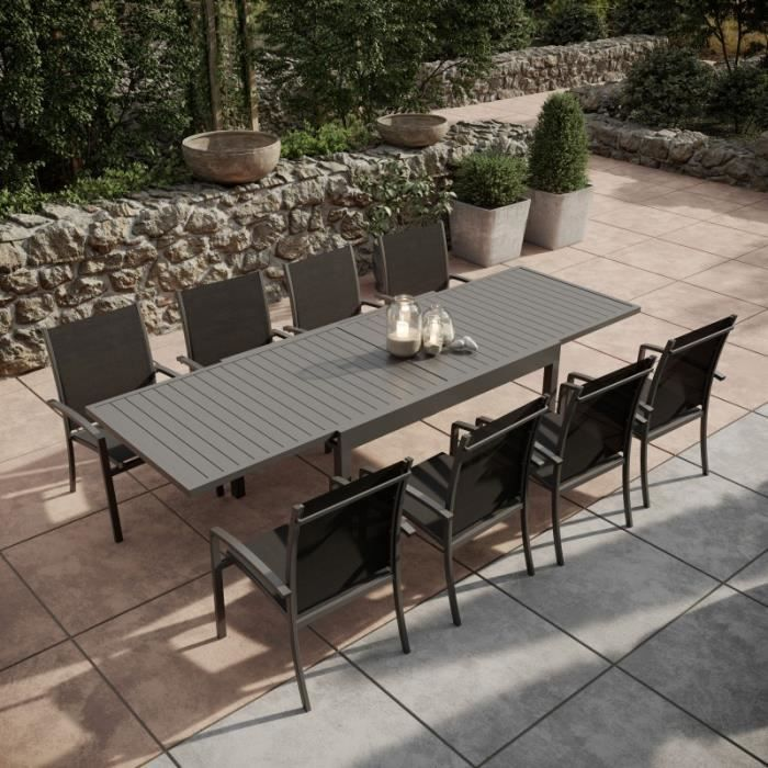 Table de jardin extensible aluminium 135-270cm + 8 fauteuils empilables  textilène Gris Anthracite - ANDRA