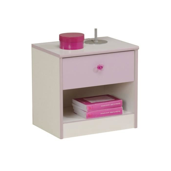 Table de chevet enfant 1 tiroir blanc et parme achat for Table de chevet bebe