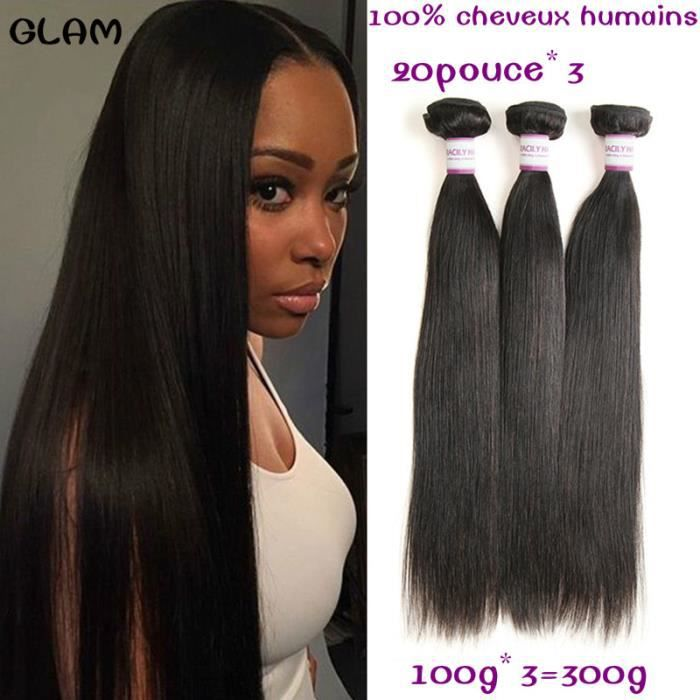 PERRUQUE - POSTICHE 3 tissage bresilien lisse virgin hair 8A cheveux n