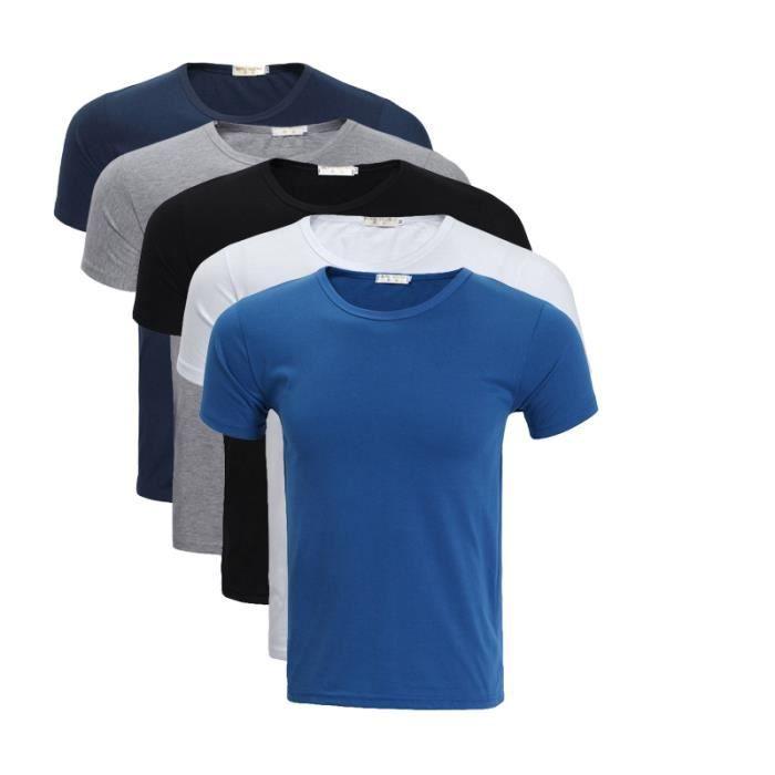 T-SHIRT T shirt Homme uni basique Lot de 5 Tee Hommes bagg