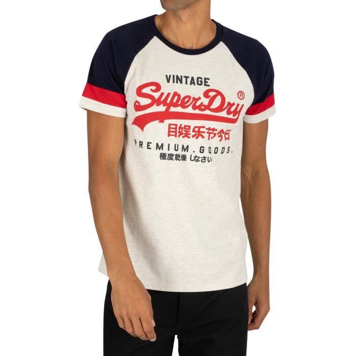 Superdry Pour des hommes T shirt Raglan Tri Couleur, blanc