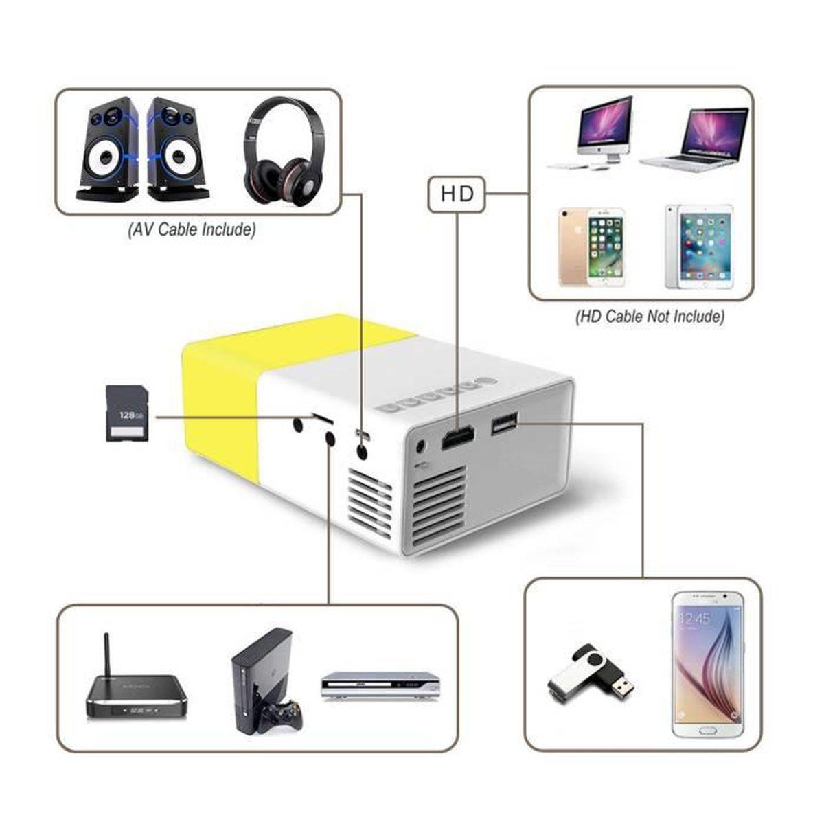 Videoprojecteur Avec Tuner Tv vidéoprojecteur, mini projecteur, led portable projecteur avec  usb-sd-av-hdmi pour loisirs (maison film theatre,video,camping,jeu)