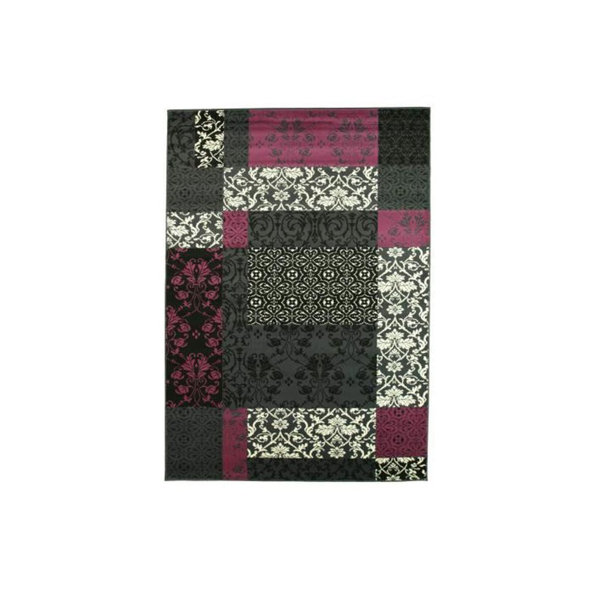 tapis salon baroque noir violet debonsol achat vente tapis cdiscount. Black Bedroom Furniture Sets. Home Design Ideas