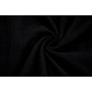 TISSU Tissu Double Gaze Noir -Au Mètre