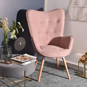 FAUTEUIL Fauteuil Chaise de Tissu Rose Accoudoir Touffue, P