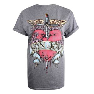 T-SHIRT Bon Jovi T-Shirt Rock à Manches Courtes Pour Femme