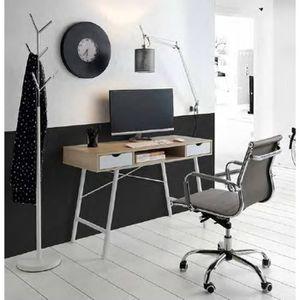 BUREAU  Bureau en métal et bois coloris blanc-cambrian - D
