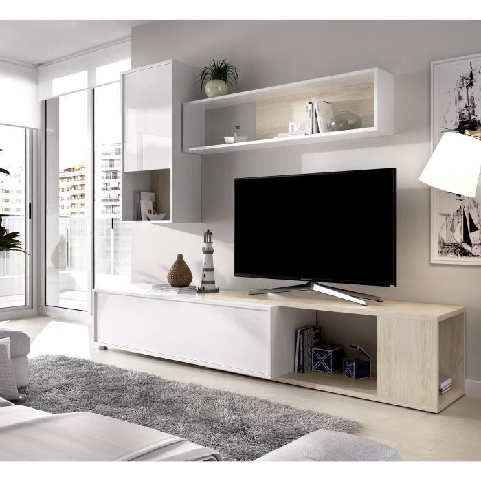 Meuble TV extensible - Classique - Panneau de particules revêtement mélaminé - Chêne naturel et blanc - L 230 x P 41 x H 180 cm