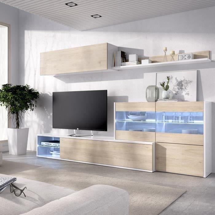 Ensemble meuble séjour living avec vitrine LED - Décor chêne et blanc - L 260 x P 41 x H 180 cm - UMA