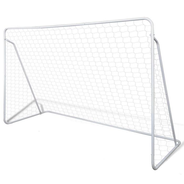 Cage de but de football en acier peint durable 240 x 90 x 150 cm blanc-SEV