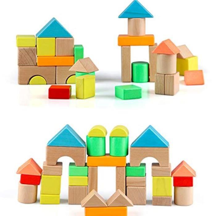 Jeu D'Assemblage QK2JP Blocs en bois blocs de construction pour les tout-petits 13 bois grande construction briques empilables blocs