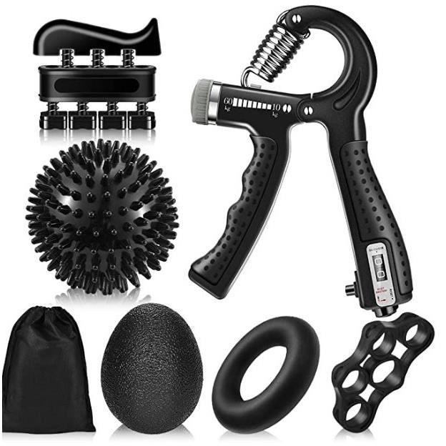 Hand Grip Musculation,6 pièces Muscleur de Main avec Comptage, 5-60KG Résistance Réglable Hand Gripper, Exerciseur de Doigts