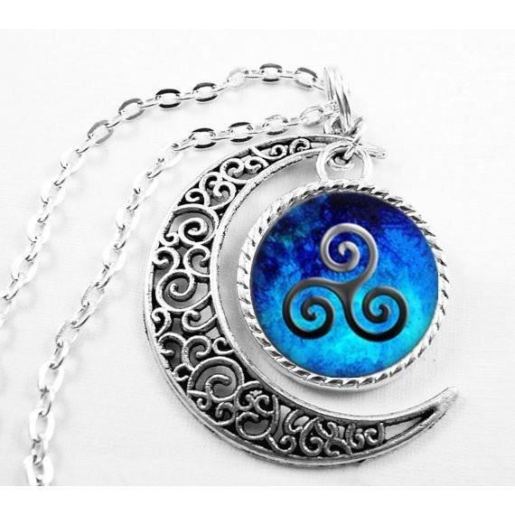 Collier De Loup Adolescent Symbole De Loup Adolescent Collier Bleu Collier De Lune Bijoux _Argent