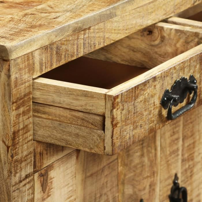 Buffet avec 2 tiroirs et 1 armoire Bois de manguier brut #N10215