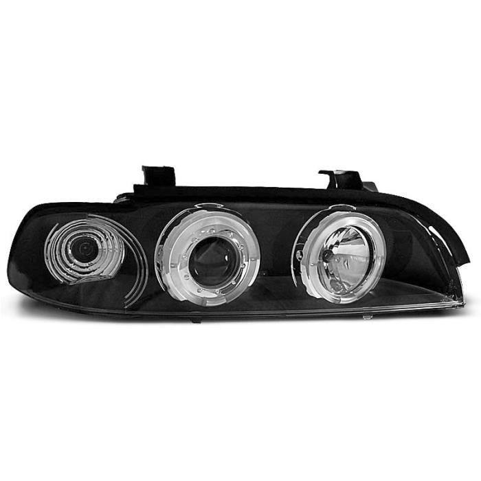 Paire de feux phares BMW serie 5 E39 95-00 angel eyes noir (M29)