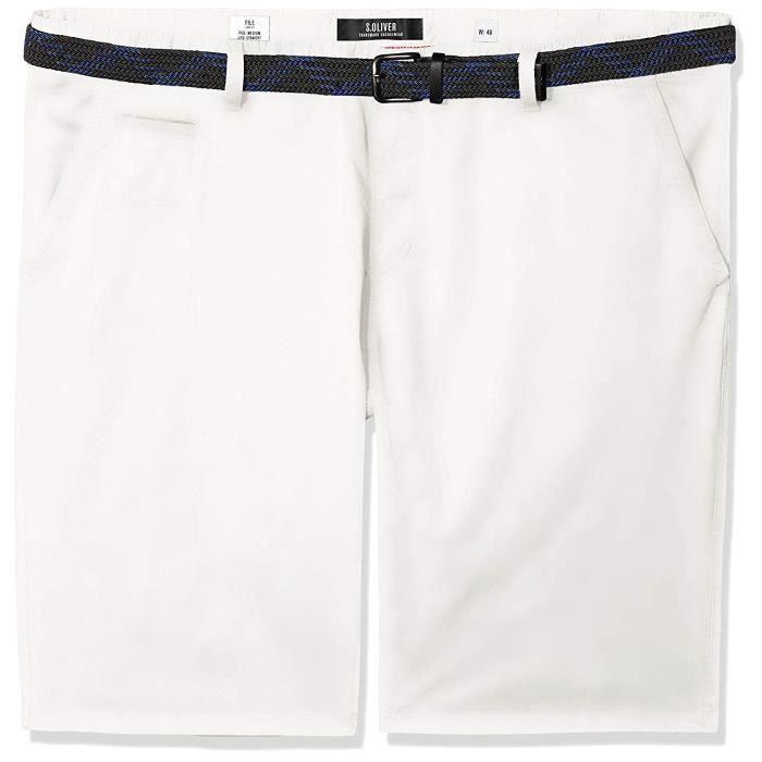s.Oliver Big Size 15.805.74.5052 Short, Blanc (White 0100), 42 W Homme - 15.805.74.5052-0100