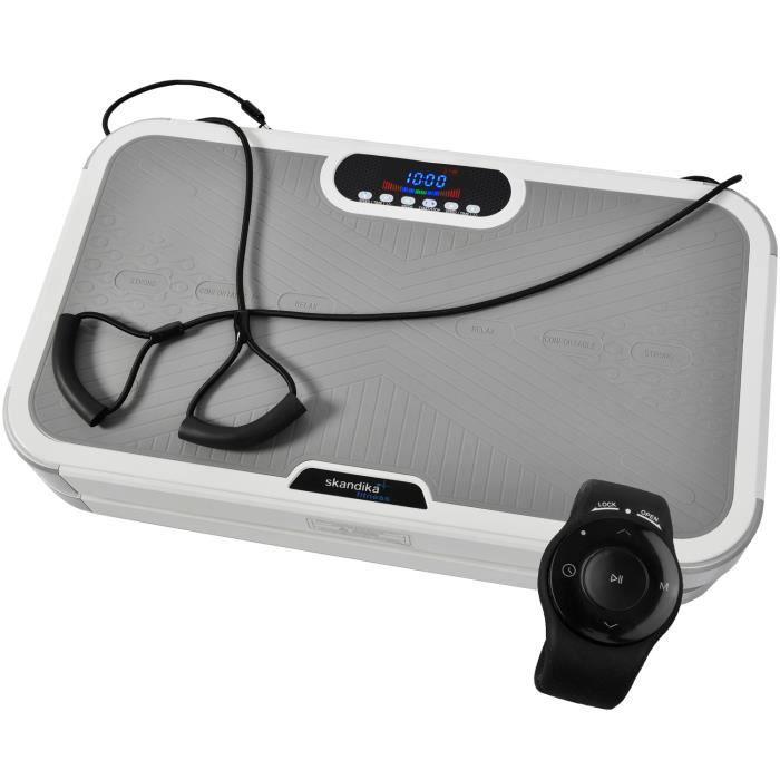 SKANDIKA Plateforme vibrante oscillante Plate 900 Plus - 5 Programmes - 2 Moteurs - Télécommande au poignet - Gris