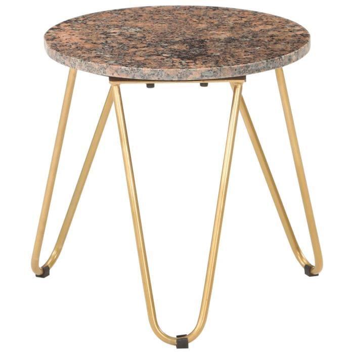 Table de Salon Scandinave Table Café -Table Basse Style Industriel - Rouge 40x40x40 cm Pierre véritable texture marbre