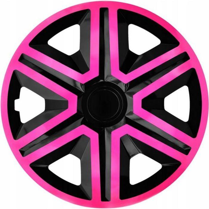 Enjoliveurs de roues ACTION noir-rose 15 - lot de 4 pièces