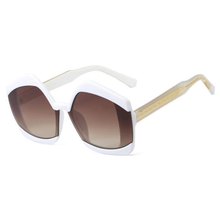 Lunettes de Soleil,Peekaboo polygonale lunettes de soleil pour femmes brun blanc 2021 mode grand lunettes - Type white with brown