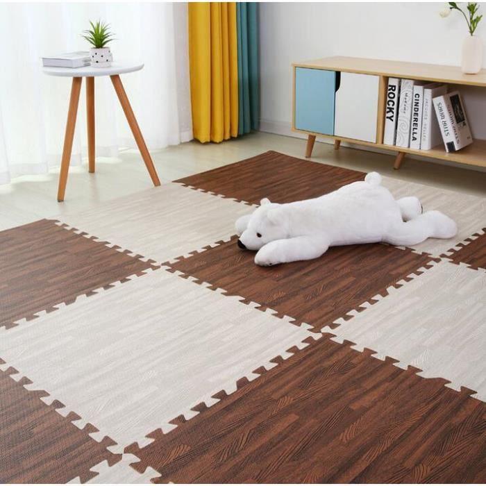 Tapis d'éveil,Puzzle en bois enfants tapis 30*30cm imperméable couture chambre doux plancher rampant bébé tapis - Type F-9 pieces