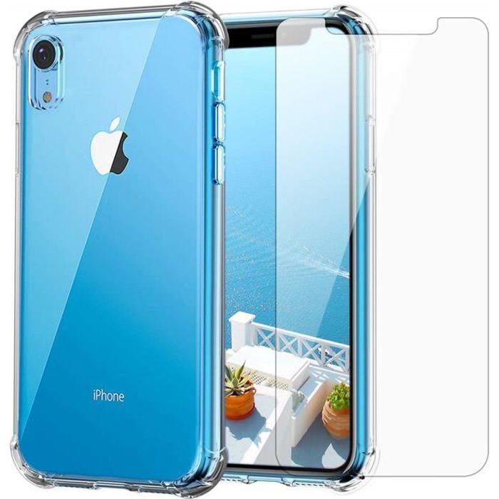 Apple Pack iPhone XR - Transparent Coque Silicone + Verre Trempé -Restart-