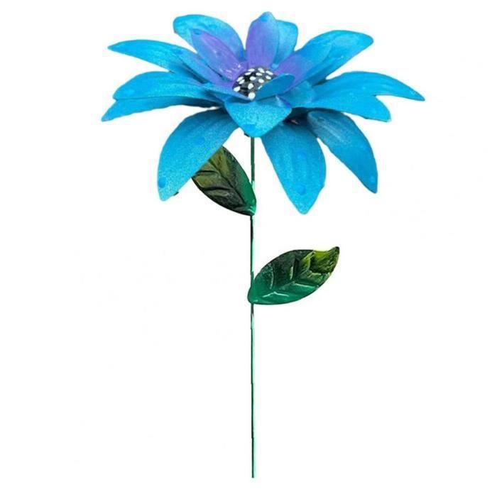 Métal Fleur Stakes Jardin Hémérocalle Ornements Art floral Artisanat Décor pour pelouse Bleu