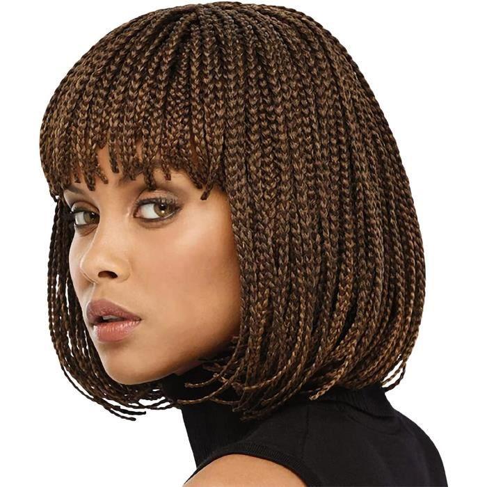 Perruque Tresse Africaine Femme Tissage Femme Tresses Africaines Courtes Perruque de Cheveux Bouclés Maille Extensible Fibre Ch 931