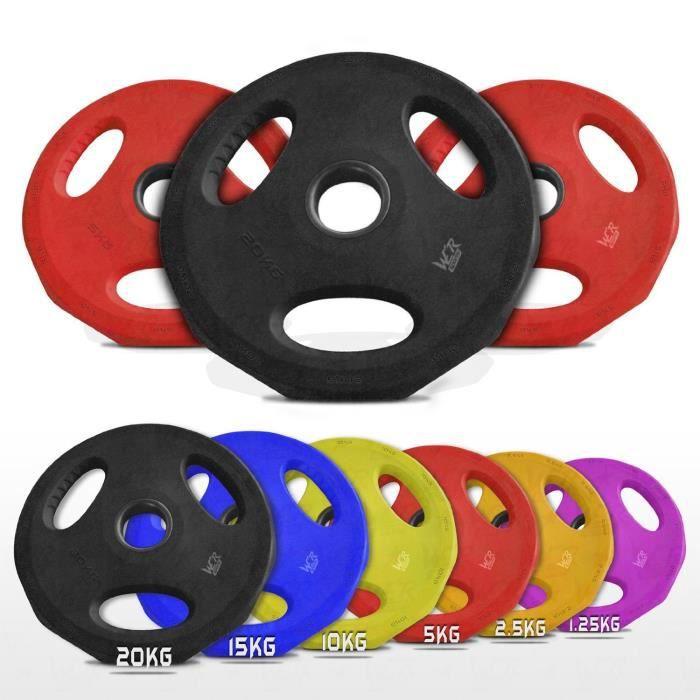 We R Sports Olympique Caoutchouc Disque Poids Plaques EZ Bar Haltère Poids Plaque Maison Aptitude Gym 50mm Trou (2x15kg)