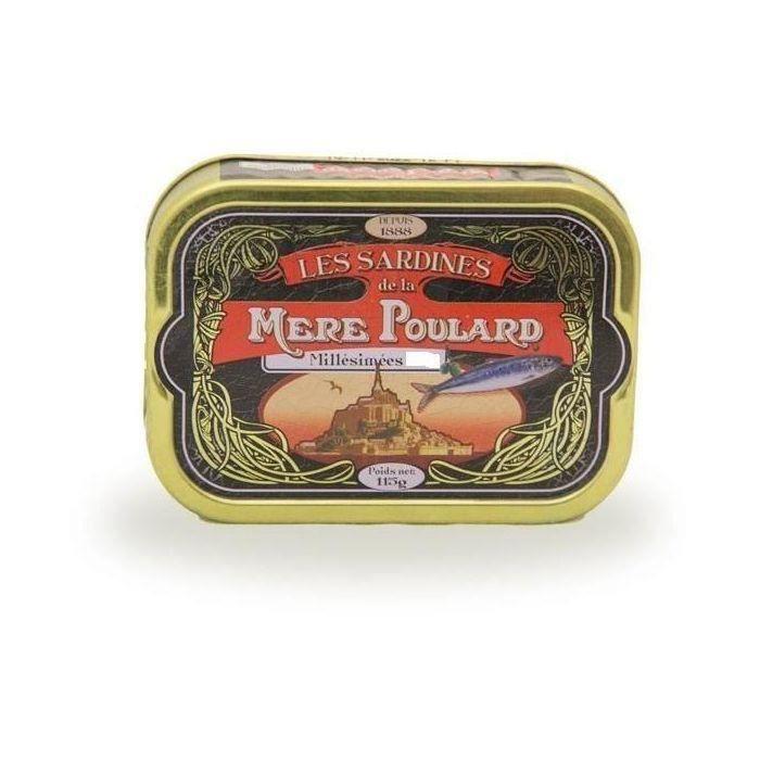 [LOT DE 3] Biscuiterie la Mère Poulard Sardines Millésimées A L'Huile D'Olive (Noir) 115g