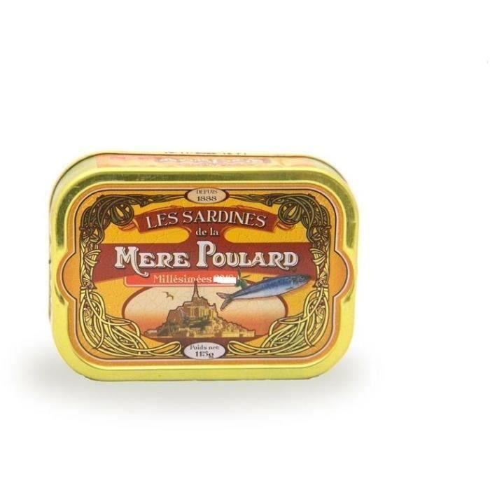 [LOT DE 3] Biscuiterie la Mère Poulard Sardines Millésimées A L'Huile D'Olive (Jaune) 115g