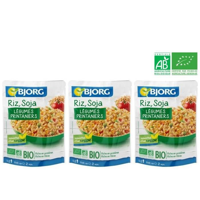 [LOT DE 3] BJORG Riz Soja légumes Doypack Bio 250g
