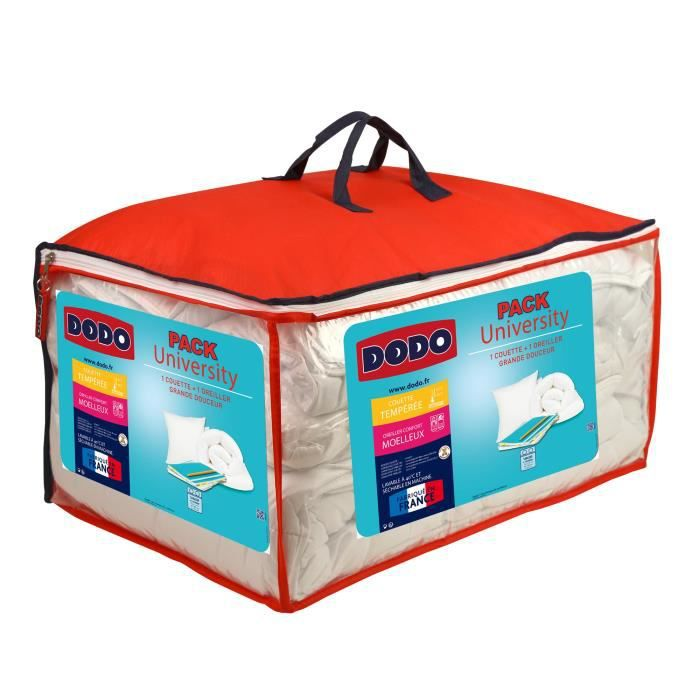 DODO Pack UNIVERSITY 1 couette tempérée 140x200cm + 1 oreiller moelleux 60x60cm