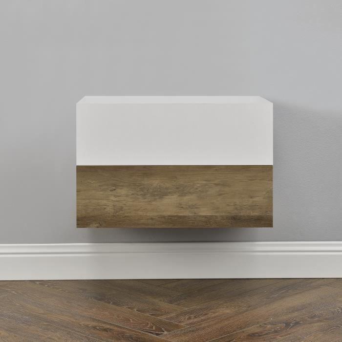 [en.casa]® 2 étagères murales pour chambre à coucher avec 2 tiroirs - blanc laqué et bois - 46x30x15cm
