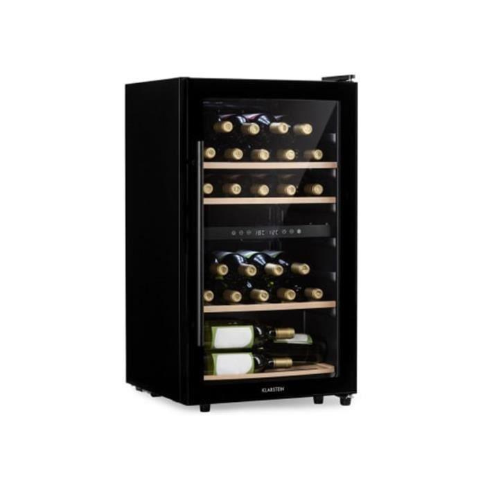 Klarstein Barossa 29D Cave à vin multi-température pour 34 bouteilles - 2 zones réglables : 5 à 18° - classe A - porte vitrée - Noir
