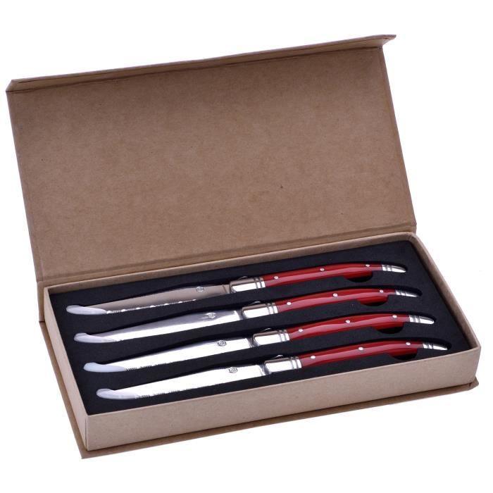 Coffret 4 Couteaux de Table avec Manche en Plastique Rouge