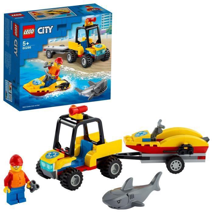 LEGO® City 60286 Le Tout-Terrain de secours de la plage, jeu de construction avec voiture de secours, jet-ski et figurines