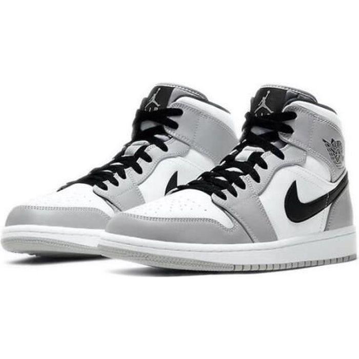 Nike Air Jordans 1 Mid Chaussures de Basket Air Jordans One Light Smoke Grey Pas Cher pour Homme Femme Gris et Blanc