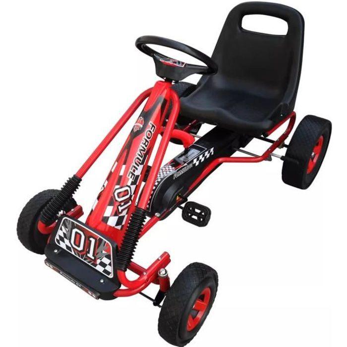Kart à pédales rouge siège ajustable 30 kg Voiture Miniature Go-Kart - Convient pour 4 à 8 ans - Nouveau