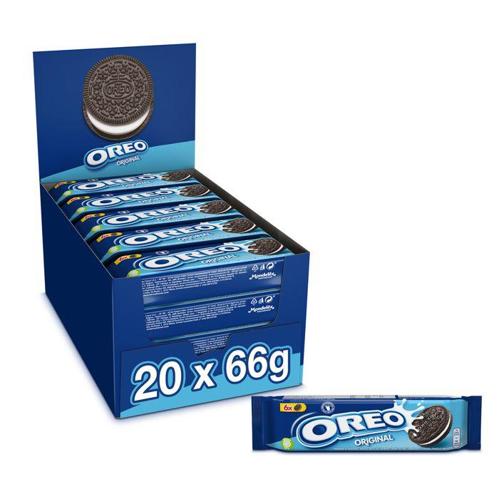 OREO Classique - Biscuit cacaoté fourré Goût Vanille - Présentoir de 20 paquets x 66 g